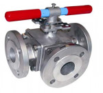 3 WAYS CAST STEEL BALL VALVE T-Port Flanged Ends GN16 - REF 784